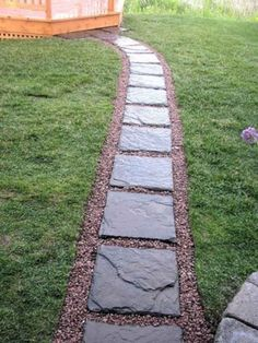Stepping Stone Walkway Ideas Stepping Stone Pathway Ideas And A Picture I Took From Upstairs You Can Concrete Step Stepping Stone Pathway Ideas Backyard Walkway, Gravel Patio, Front Yard Landscaping, Landscaping Ideas, Patio Ideas, Mulch Landscaping, Gravel Pathway, Pebble Walkway Pathways, Backyard Ideas