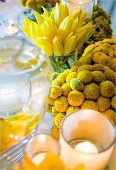 flowers candles yellow lemon