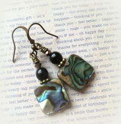 Square Abalone shell dangle earrings by LarkofaDiver on Etsy https://www.etsy.com/listing/504943223/square-abalone-shell-dangle-earrings