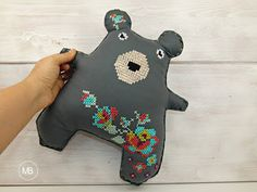 Cross Stitch Doll by MiauBoutique, Bear Stitch Doll, Dinosaur Stuffed Animal, Cross Stitch, Bear, Boutique, Dolls, Animals, Baby Dolls, Punto De Cruz