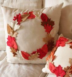 DIY Fall pillow with felt leaves // Őszi koszorú párna filc falevelekkel // Mindy - craft & DIY tutorial collection