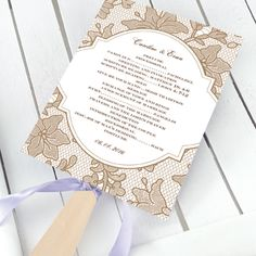 lace wedding ceremony fan program