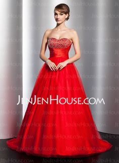 Ball-Gown Sweetheart Sweep Train Satin Tulle Quinceanera Dress With Ruffle Beading (021020796) - JenJenHouse