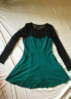 ddf86d3d5cdac2 Forever 21 Sea Green Dress w  Black Net Top