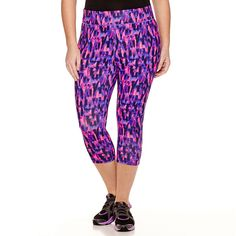 Xersion™ Print Capris ($28) ❤ liked on Polyvore featuring plus size fashion, plus size clothing, plus size activewear, plus size activewear pants, plus size, womens plus size activewear, plus size sportswear, xersion sportswear, xersion activewear and xersion