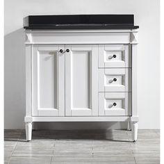 Vinnova Catania 36-inch White Mirrorless Single Vanity with Black Galaxy Granite Top