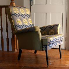 Vintage Armchair in Floral Grey