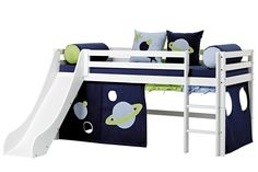 Basic European Single Mid Sleeper Bed with Textil Set Hoppekids Bed surface: European Single x 200 cm) Mattress Covers, Bed Mattress, Ladder Accessories, Underbed Storage Drawers, Bed Parts, Mid Sleeper Bed, High Beds, Wood Curtain, Bed With Slide