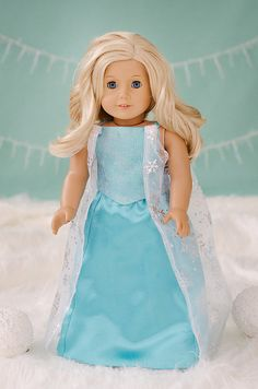 Disney Princess Elsa inspired dress for American Girl Doll on Etsy, $50.00