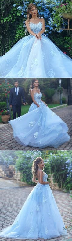Light Blue Evening Dress,Lace Appliques Prom Dress,Elegant Bridesmaid Dress,Long Formal Gowns,Prom Dresses 2018 Dresses Near Me A Line Prom Dresses, Tulle Prom Dress, Dress Lace, Party Dresses, Long Formal Gowns, Formal Dresses, Formal Prom, Light Blue Wedding Dress, Elegant Bridesmaid Dresses