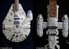 I feel my nerdy and cool meter going off at the same time with these Star Wars custom guitars