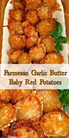 Tender baby red potatoes are baked with garlic butter and shredded Parmesan Cheese to create these flavorful crispy buttery potatoes. The perfect side dish. potato al horno asadas fritas recetas diet diet plan diet recipes recipes Potato Sides, Potato Side Dishes, Vegetarian Recipes, Cooking Recipes, Healthy Recipes, Seafood Recipes, Tasty Dinner Recipes, Healthy Food, Vegetarian Side Dishes