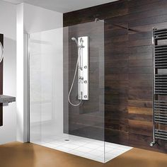 Wide walk-in shower with glass - Shower