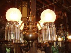 Restored Victorian Interior | Outstanding brass and crystal Victorian chandelier