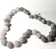 Gray Druzy Bead Necklace Sterling Silver Druzy by PetitDepot