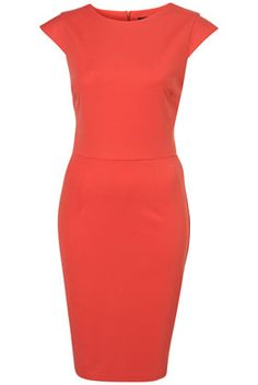 Clean Ponte Pencil Dress, shown in coral. $92 from TopShop. Love love love this dress. It looks amazing on with gold jewelry.