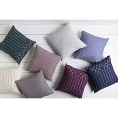 Decorative List 20-inch Poly or Down Filled Throw Pillow (Down - Lilac), Grey, Size 20 x 20 (Linen, Geometric)