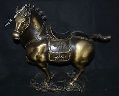 """24"""" Collection Chinese Pure Bronze Lucky Zodiac Horse success Statue"""