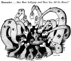 Seuss was a famous political cartoonist in the century. This particular cartoon by Seuss depicts the Appeasement Policy taken by America and Europe toward German aggression. This turning of a blind eye eventually led to WWII. Ap World History, American History, Canadian History, Theodor Seuss Geisel, History Magazine, History Teachers, Teaching History, History Education, History Class