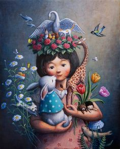 Kai Fine Art is an art website, shows painting and illustration works all over the world. Okayama, Art And Illustration, Surealism Art, Art Fantaisiste, Art Mignon, Amor Animal, Inspiration Art, Pop Surrealism, Japanese Artists