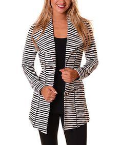 Black & White Stripe Zip-Accent Jacket