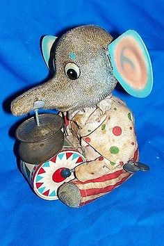 Vintage Wind-up Toy Elephant Musical Old Made in Japan Japanese Tin Kids Animal
