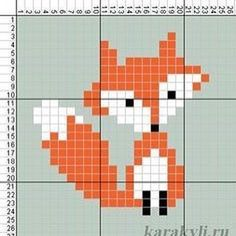 Cross Stitch Baby, Cross Stitch Animals, Cross Stitch Designs, Cross Stitch Patterns, Fuchs Illustration, Fox Crafts, Tapestry Crochet, Knitting Charts, Baby Knitting