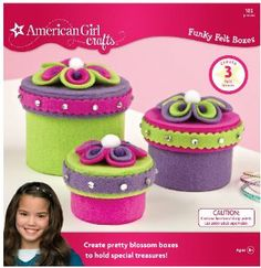 American Girl Crafts Funky Felt Box Kit by EK Success. $16.38. Kit includes small, medium, and large boxes. Every American Girl Crafts project includes a Get Creative idea from American Girl.. American Girl Crafts are designed to inspire girls and help develop their creative thinking skills.. Creates 3 felt boxes. Each crafting kit includes a picture-prompted, step by step instruction booklet. From the Manufacturer                Make these fuzzy flowers to put on yo...