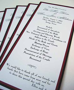 Wedding program panel with red and black border by Renaissance Writings