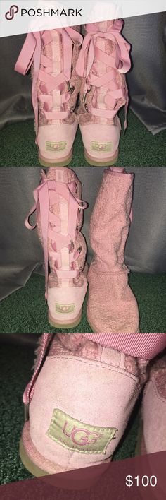 Pink Uggs Pink Uggs with a lace up corset back. In very good condition still, they are just a little scuffed up and dirty. They don't stand up on their own (and they never were able to, they came like that). UGG Shoes Winter & Rain Boots