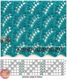 Fans of lace knitting Lace Knitting Stitches, Lace Knitting Patterns, Knitting Charts, Lace Patterns, Baby Knitting, Stitch Patterns, Knitting Designs, Knitting Socks, Free Knitting