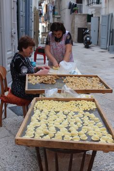 Freshly made filled pasta in Bari, Italy. ( A. Carman). Place of my grandparents' birth. My grandmother