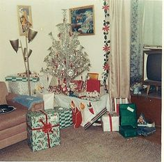A retro Christmas.  The TV, the couch, pole lamp, the carpet...it all reminds me of home in the '60s.