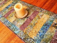 Quilted Batik Table Runner Plum Gold and Blue Modern by susiquilts