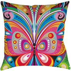 Thumbprintz Pattern Butterfly Throw/ Floor Pillow ($39) ❤ liked on Polyvore featuring home, home decor, throw pillows, multi, whimsical home decor, butterfly home decor, square floor pillow, multi colored throw pillows and colorful throw pillows