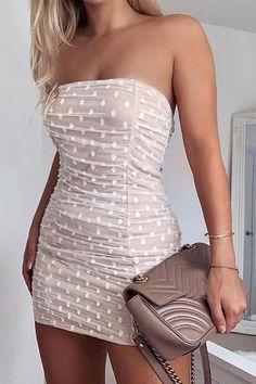 Tube Polka Dot Bodycon Dress – streetstylepop Sexy Dresses, Dresses Elegant, Casual Dresses, Fashion Dresses, Dresses For Work, Summer Dresses, Formal Dresses, Wedding Dresses, Bodycon Fashion