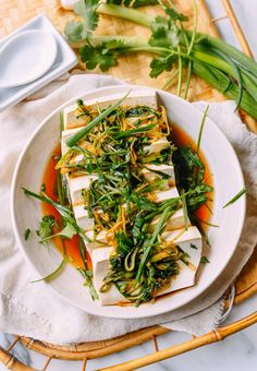 Cantonese-Style Steamed Tofu with Ginger & Scallions | The Woks of Life