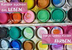 Poster mit pädagogischem Spruch /Zitat zu Kindern von Friedrich Fröbel - Kinder lieben Farben...