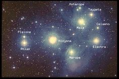 Pleiades - In Greek mythology, the Pleiades were seven sisters: Maia, Electra, Alcyone, Taygete, Asterope, Celaeno and Merope. Their parents were Atlas, a Titan who held up the sky, and the oceanid Pleione, the protectress of sailing.