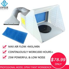 89.99$  Buy here - http://ali966.worldwells.pw/go.php?t=1652250061 - OPHIR 25W DC Airbrush Paint Spray Booth Kit with Turntable for Model Painting Craft Extractor Hobby Airbrush Workbench _AC076