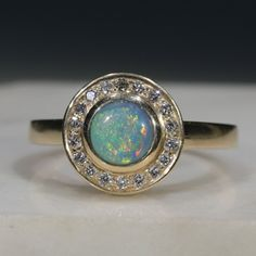 Natural Australian Solid Boulder Opal and Diamond Gold Ring Size 6.25 Code - RL27 10k Gold Ring, Gold Diamond Rings, Gold Rings, Gemstone Rings, Natural Opal, Natural Diamonds, Opal Color, Gold Ring Designs, Green Opal