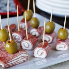 Quick Salami & Cream Cheese Bites Recipe Appetizers, Lunch, Snacks with hard salami, cream cheese, olives