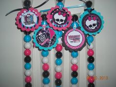 12 Monster High Inspired Candy Treat Bags Favors Tags Stix Tubes Toppers Birthday Goodie Bags Party Girls Skull Logo Pink Black Aqua
