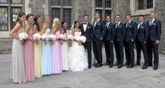 i love the colors of the bridesmaids dresses and that wedding gown!