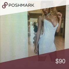 """Metal draped halter dress high quality White metal mesh Kylie dress! Gorgeous fits great & never worn!!!!! Just missed the return deadline but it fits girls who are size XS (0-2) max hips 34"""" max waist 26"""" Dresses Mini"""