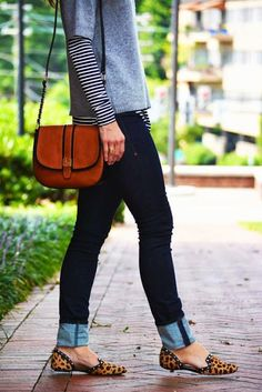 Just a pretty style | Latest fashion trends: Fashion trends | Layered stripes, denim, leopard flats