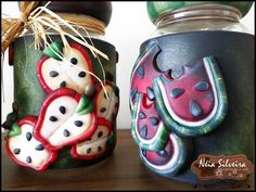 Frutas Clay Jar, Clay Pots, Pasta Flexible, Cold Porcelain, Party Time, Watermelon, Biscuits, Diy And Crafts, Polymer Clay