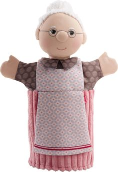 Raise the curtains and put on a show with the HABA Grandma Glove puppet. Grandma Puppet can tell great stories and help your little one put on amazing shows. - Made of soft polyester - Product Dimensi Glove Puppets, Felt Puppets, Puppets For Kids, Puppet Toys, Puppet Show, Shark Puppet, Animal Hand Puppets, Puppet Patterns, Doll Patterns
