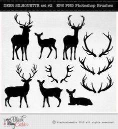 Deer Cliparts  Deer Silhouettes  Reindeer  by BlackCatsMedia