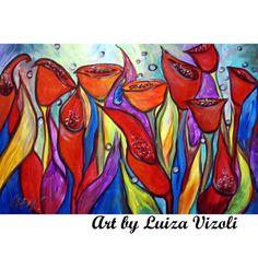 ORIGINAL FLOWERS Art Painting Large Painting Modern by LUIZAVIZOLI